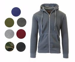 2 Pack Mens Fleece Lined Hoodie Outerwear Jacket Coat Zip Up