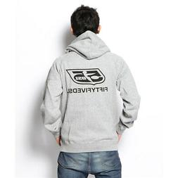 DIESEL 55DSL MEN'S F-ZIP LOGO HOODED SWEAT-SHIRT GREY SIZE:
