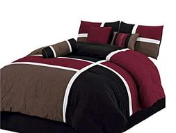 Chezmoi Collection 7 Piece Quilted Patchwork Comforter Set,