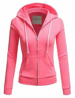 Doublju Lightweight Thin Zip-Up Hoodie Jacket for Women with