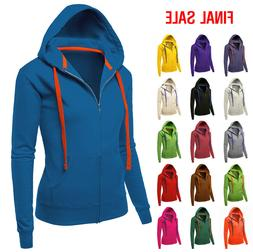 Ninexis Womens Solid Basix Zip-Up Hoodie With Pockets