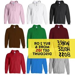 MENS WOMENS CASUAL HOODIE FULL ZIP UP HOODED SWEATSHIRT PLAI