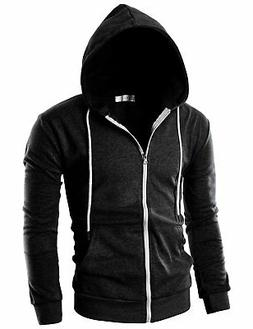 Ohoo Mens Hoodie, Blk Poly Cotton Slim-Fit Zipper, Long-Slee