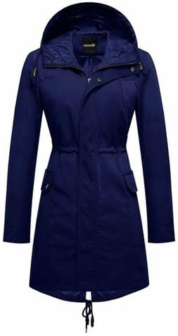 Wantdo Women's Zip Closure Trench Coat Mid-Lenghth Fishtail
