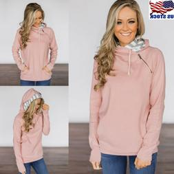 Women Long Sleeve Casual Zip Hoodie Sweatshirt Pullover Tops