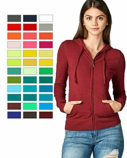 Women's Basic Zip Up Long Sleeve Hoodie Jacket Lined Drawstr
