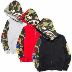 A Bathing Ape Bape camo shark Men Jacket FULL ZIP Camouflage