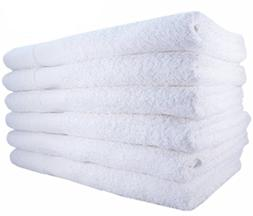 Bath Towels by MIMAATEX-6 Pack-White 100% Cotton 24x50 Inch