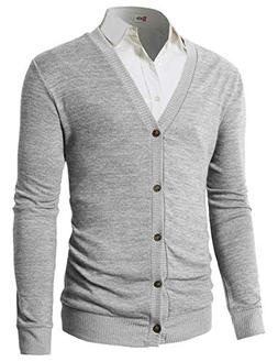 H2H Men's Casual Slim Full Zip Thick Knitted Cardigan Sweate