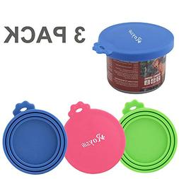 Roysili 3 Pack Pet Can Covers, BPA Free Silicone Dog Cat Foo
