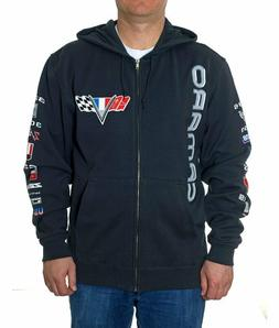 Chevy Camaro Zip Hoodie Jacket Charcoal Grey Colored Logos C