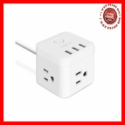 JSVER 3 Outlet Compact Cube Power Strip with 3 Smart USB Cha