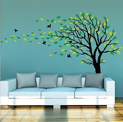 Large Tree Blowing in The Wind Tree Wall Decals Wall Sticker