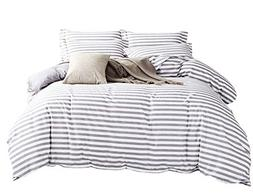 Microfiber Duvet Cover Set,Striped Duvet Cover,Contrast 2 To