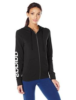 adidas Women's Essentials Linear Full Zip Fleece Hoodie, Bla