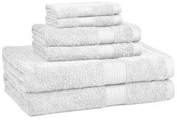 AmazonBasics Fade-Resistant Towel Set, 6-Piece, White