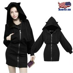 Fashion Gothic Cat Ears Long Zip Up Hoodie Dress Long Sleeve