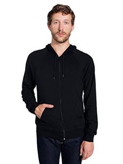 American Apparel Men Fine Jersey Zip Hoodie Size M Black
