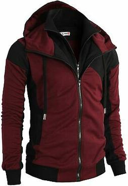H2H Mens Casual Slim Fit Hoodie Active Zip-up Jackets with P