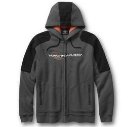 Harley-Davidson® Men's Full Zip-Front Gray Fleece Hoodie Sw