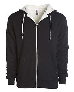 Global Heavyweight Sherpa Lined Zip Up Hoodie for Men Hooded