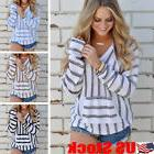 Long Sleeve Women Striped Hooded Pullover Coat Loose Hoodie