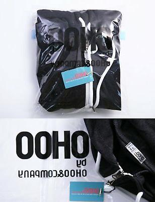 Ohoo Mens Hoodie, Blk Poly Cotton Slim-Fit Zipper, Long-Sleeve Size/L