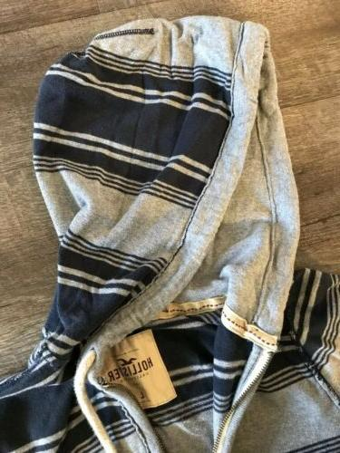 Hollister Up Hoodie Large and Grey Stripe