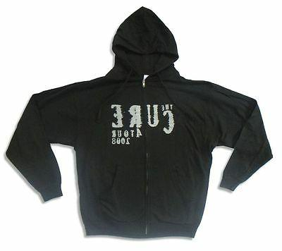 cure 2008 logo black zip up sweatshirt