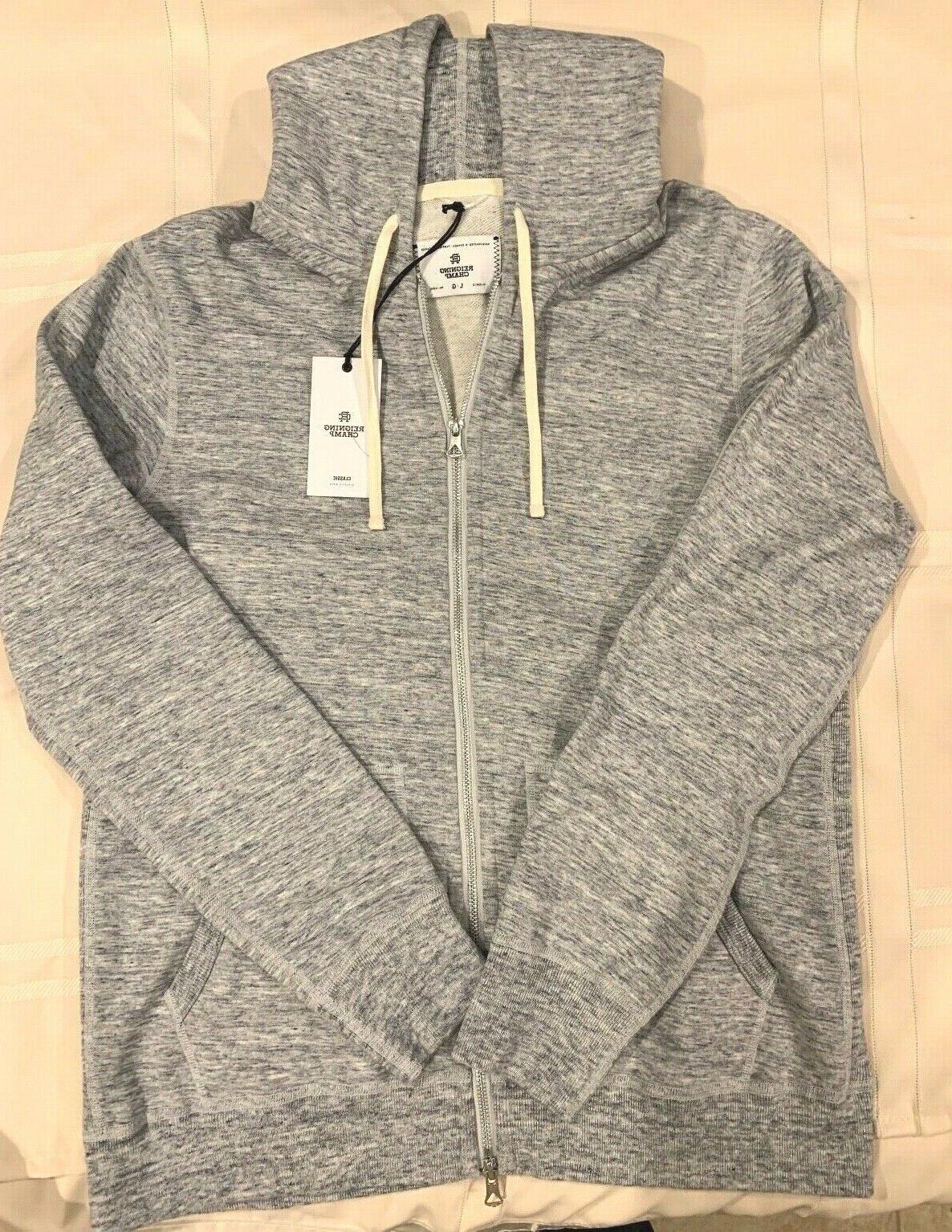 REIGNING CHAMP full zip hoodie LARGE heather grey NWT