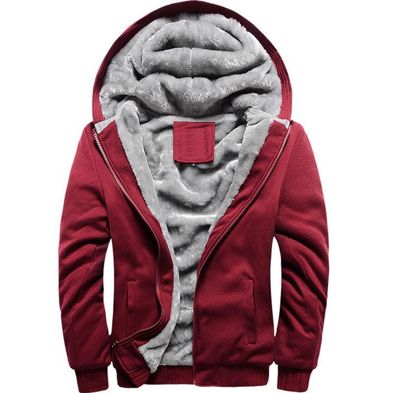 Men's Lined Thicken Jacket Sweatshirt Zip Hoodie