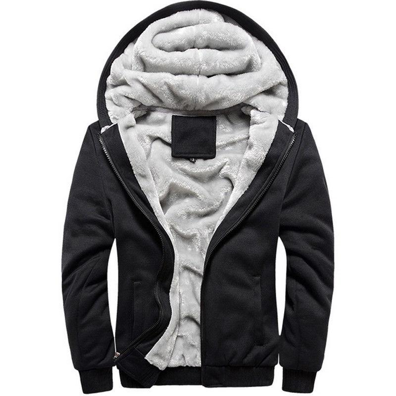 Men's Fleece Jacket Sweatshirt Winter Zip Coat Outwear