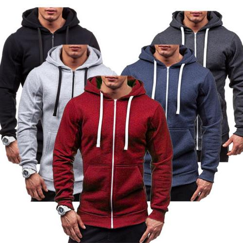Men's Color Zip Up Classic Hooded Jacket Top