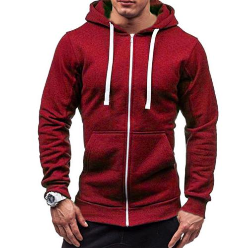 Men's Solid Color Up Classic Winter Hooded Sweatshirt Jacket Top