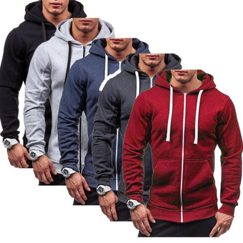 men s solid color zip up hoodie