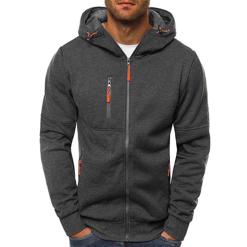Men's Solid Full Up Hoodie Classic Zipper Sweatshirt Tops