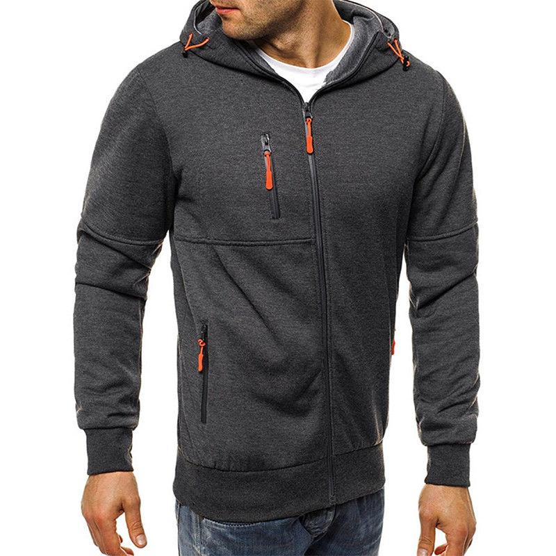 Men's Full Zip Up Zipper Sweatshirt Jacket Tops
