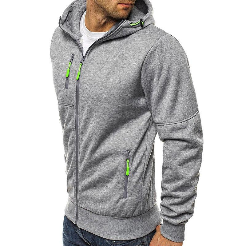 Men's Solid Full Zip Up Zipper Sweatshirt Tops