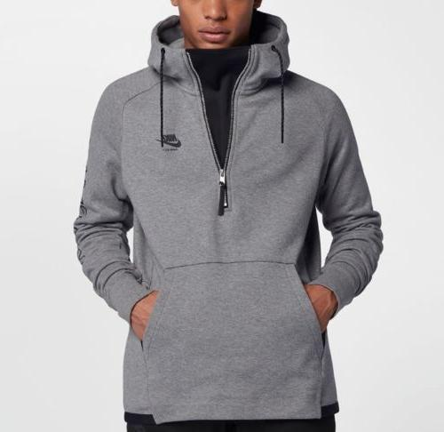 Nike Men's Sportswear AIR MAX Half Zip Hoodie Heather Grey L