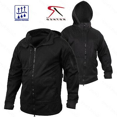 Rothco Men's Tactical Zip Up Hoodie -  Black Zippered Hooded