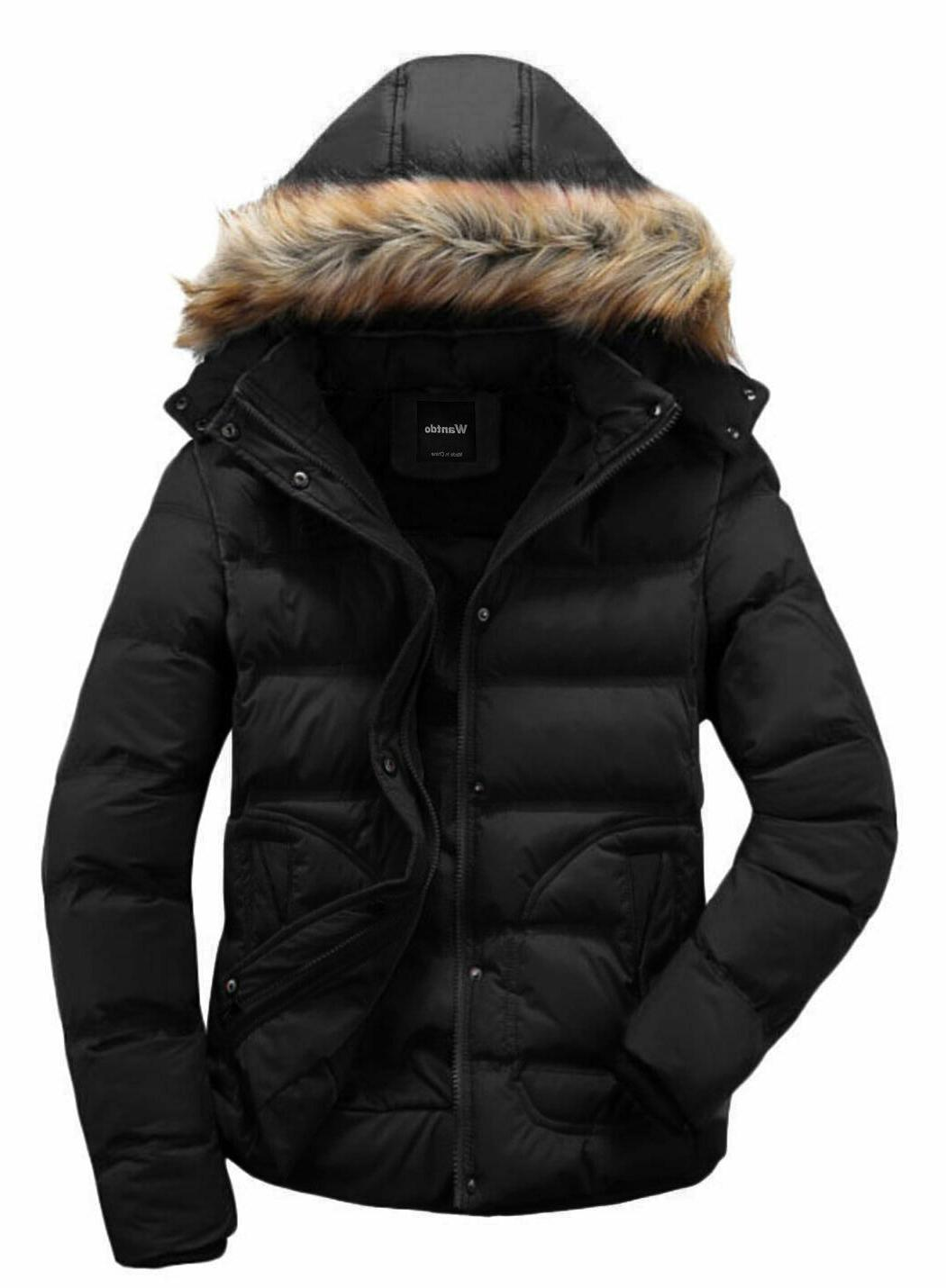 men s winter puffer coat casual fur