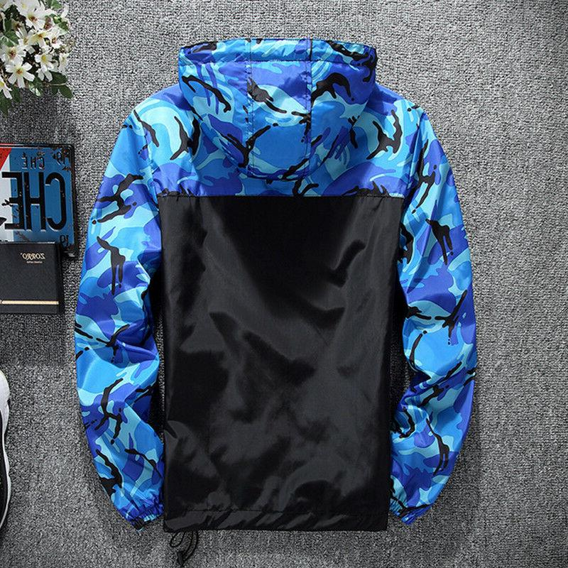 Men Camo Hooded Gym Jacket