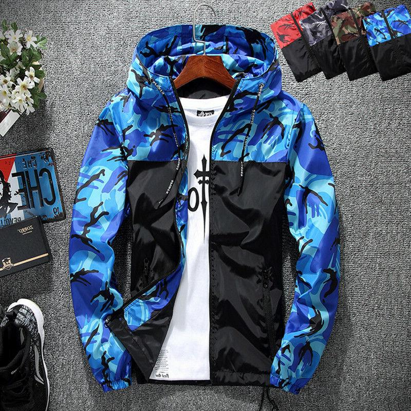 Men Hooded Sweatshirt Zip Sport Gym Jacket Outwear