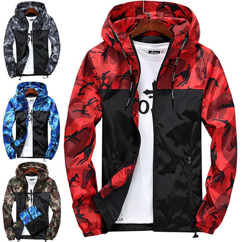 Men Camo Hooded Sweatshirt Zip Gym Jacket Outwear New