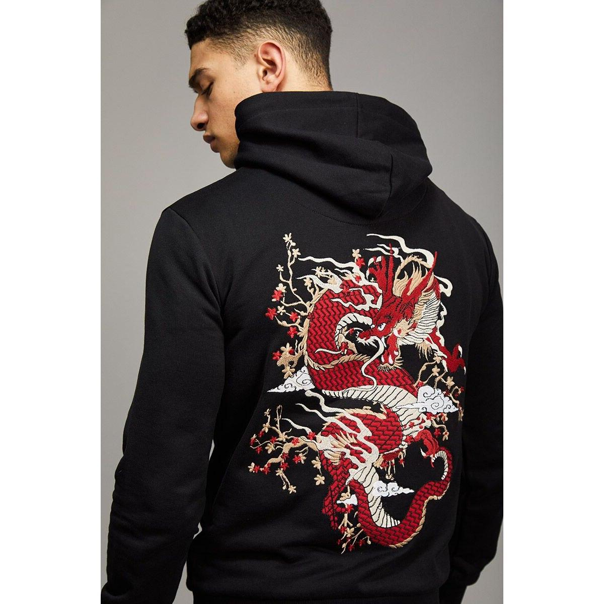 Mens Chinese Pullover <font><b>Zip</b></font> Heavy Hooded Tie Clothing