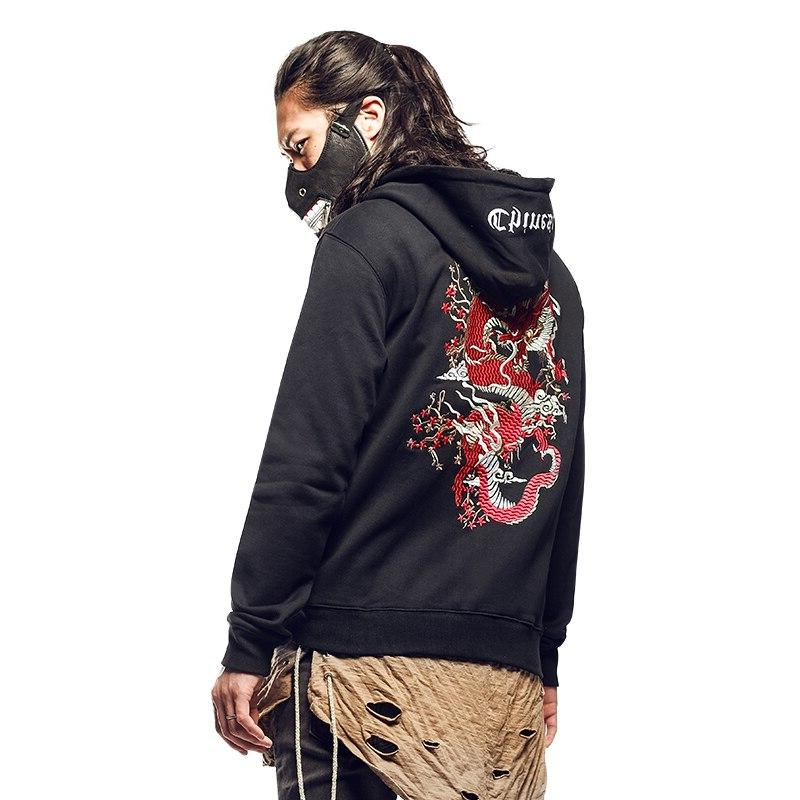 mens chinese dragon embroidery pullover black gothic