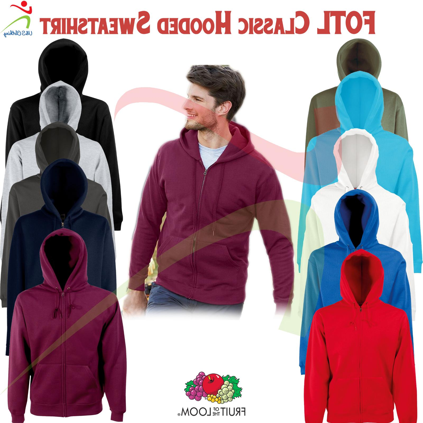 Fruit of the Loom Mens Classic Full Zip Up Hooded Sweat Jack