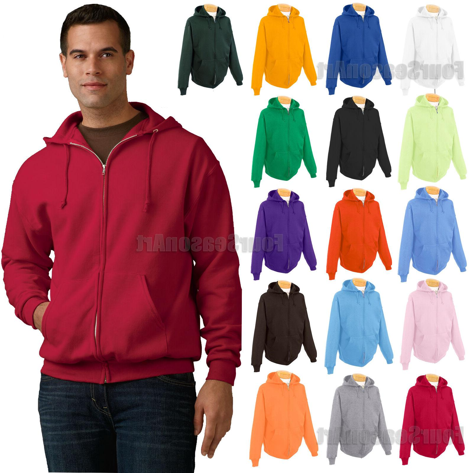 JERZEES Mens Full Zip Hooded Sweatshirt 50/50 Hoodie Fleece