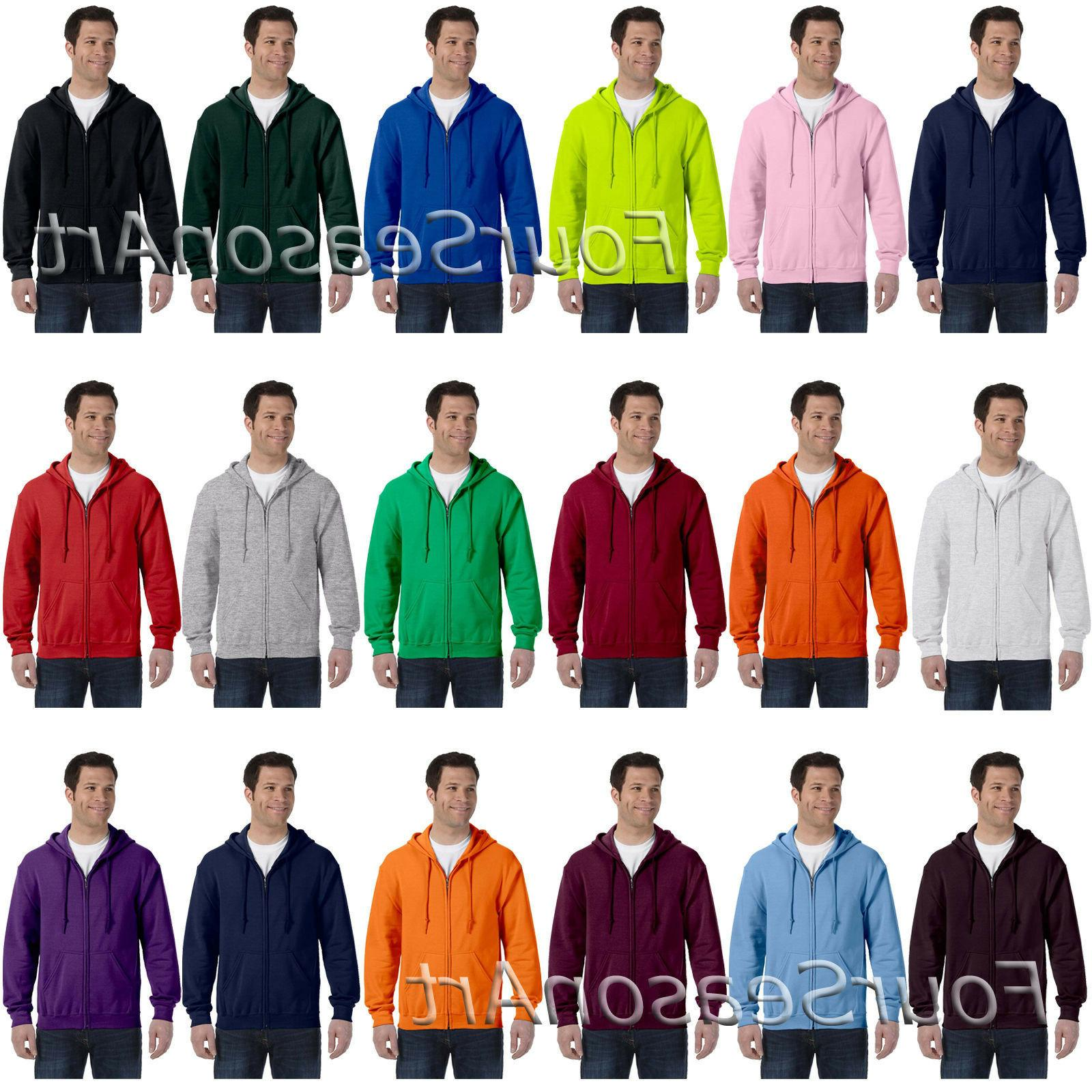 Gildan Mens Heavy Blend Full Zip Hooded Sweatshirt 50/50 Hoo