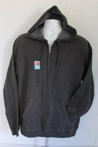 Mens Hooded Jacket Small Gray Full Zip Hoodie Hanes Sweatshi
